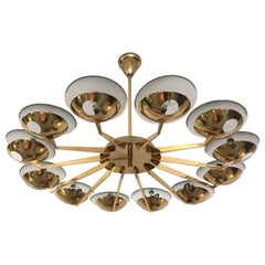 Brass and Glass Chandelier by Stilnovo