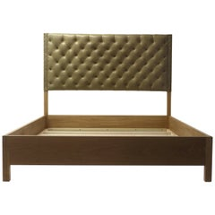 Tan Leather Tufted Bed with Oakwood Rails with Button Details