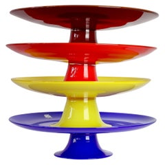 Signed Group of Cenedese Murano Glass Vibrantly Colored Glass Cake Stands