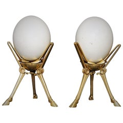 19th Century Ferdinand Barbedienne Gilt Bronze Mounted Pair of Ostrich Eggs
