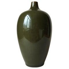 Midcentury Danish Green Glaze Ceramic Vase by Gerd Bogelund for Royal Copenhagen
