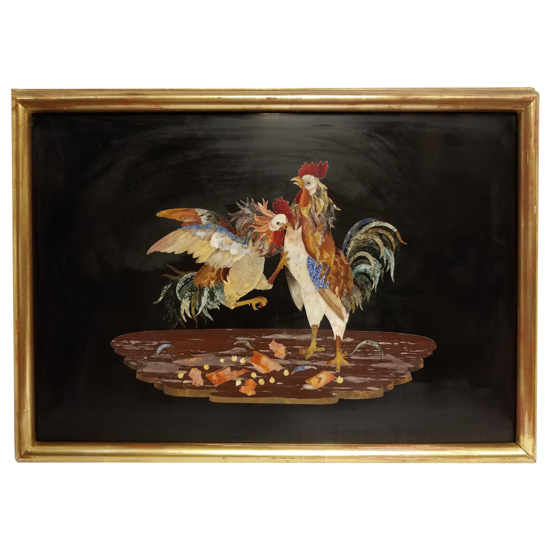 "Unusual 19th Century Mosaic, Pietra Dura Plaque of ""The Cock Fight"""