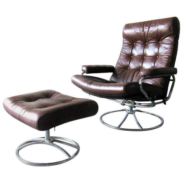 ekornes stressless chair and ottoman 1970s for sale at 1stdibs