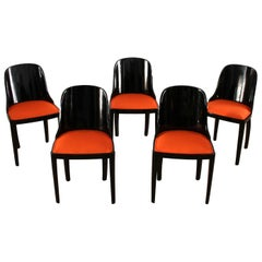 Five Art Deco Chairs, Blackened Wood, Orange Fabric, France, circa 1930