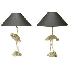Pair of Maison Baguès Silver Plated Heron Table Lamps