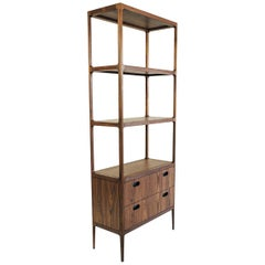 Radius Two-Drawer Walnut Étagère with Blackened Brass Details