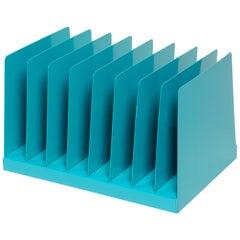 Retro Office Mail Organizer/ Magazine Rack Refinished in Turquoise