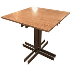 Postmodern Travertine Table with Architectural Aluminum Base