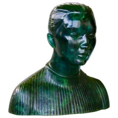 Amazing 1970s Transparent Green Figurative Sculpture