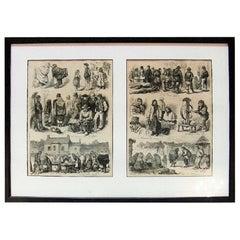 Irish Illustration Scenes from Galway of Irish Folk