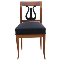 Early Biedermeier Chair, Cherry, Ebonized Lyra, South Germany, circa 1820