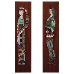 Pair of Harris Strong Figural Ceramic Tile Panels