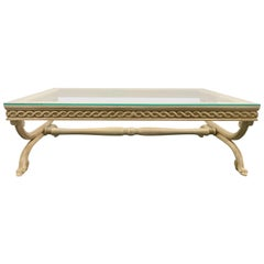 Large Hand Carved Glass Top Rustic Farmhouse Style Coffee Table
