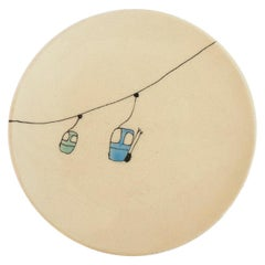 Small Handmade Ceramic Plates with Ski Lift Illustration