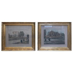 Pair of 19th Century Fishing Prints in Original Classic American Giltwood Frames