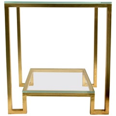 Gilded Iron Side Table with Two-Glass Shelves