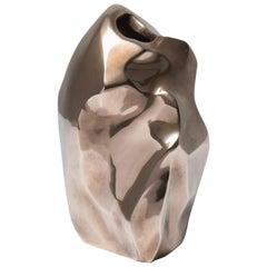 Unique Asymmetric Bronze Vase, Sculpture by Michel Jaubert, 1960