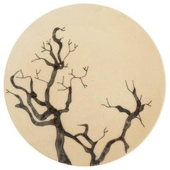 Small Handmade Ceramic Plates with Tree Illustration