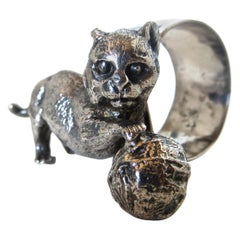 """""""Cat with a Ball of Yarn"""" Silver Plate Victorian Napkin Ring, American"""