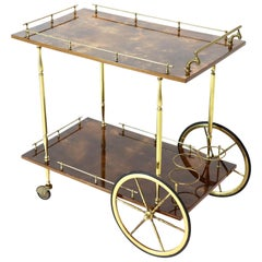 Brass Gallery Brown Lacquered Parchment Bar Tea Serving Cart Aldo Tura