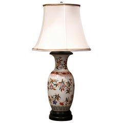Mid-20th Century Chinese Porcelain Famille Rose Vase Converted into Table Lamp