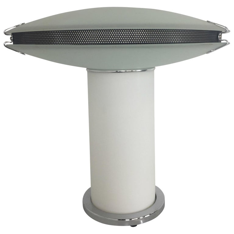 Postmodern Frosted Glass Table Lamp with Mesh and Chrome Details