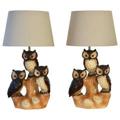 Mid-Century Modern Sculptural Ceramic Owl Lamp with Shade, 1970s