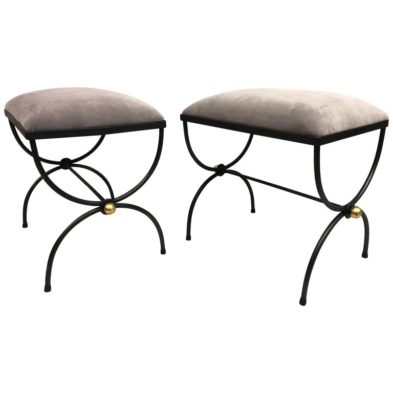 Pair of Mid-Century Modern Neoclassical Wrought Iron and Gilt Benches or Stools For Sale