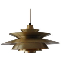 Multi-Layered Brass Pendant Lamp Designed by Lyskær, Denmark, 1960s