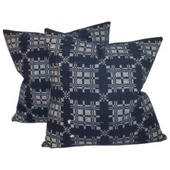 19th Century Hand Woven Coverlet Pillows, Pair