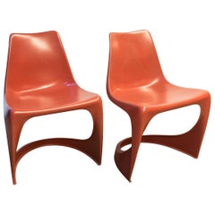 Red Plastic Chairs by Steen Ostergaard by Cado, 1968