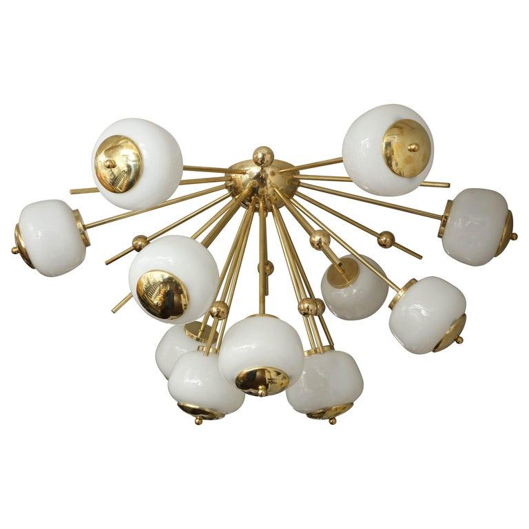 Custom Milk Glass Globe Sputnik Chandelier For Sale