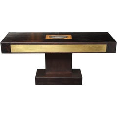 Dark Wood Console with Brass and Gem Stone Decor
