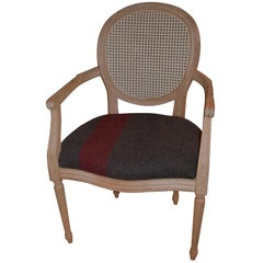 Armchair of Louis XVI-Style with Medallion Back and Swiss Army Blanket Cushion