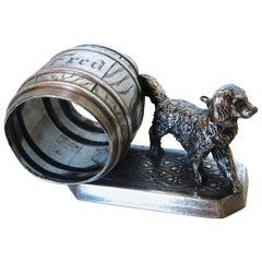 """Rip Van Winkle's Dog"" Silver Plate Victorian Napkin Ring, American, circa 1880s"
