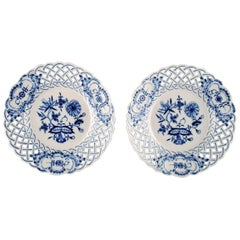 Pair of Meissen Blue Onion Pierced/Reticulated Plates