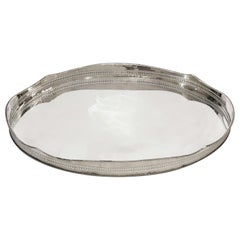 Large English Silver Oval Gallery Serving Tray