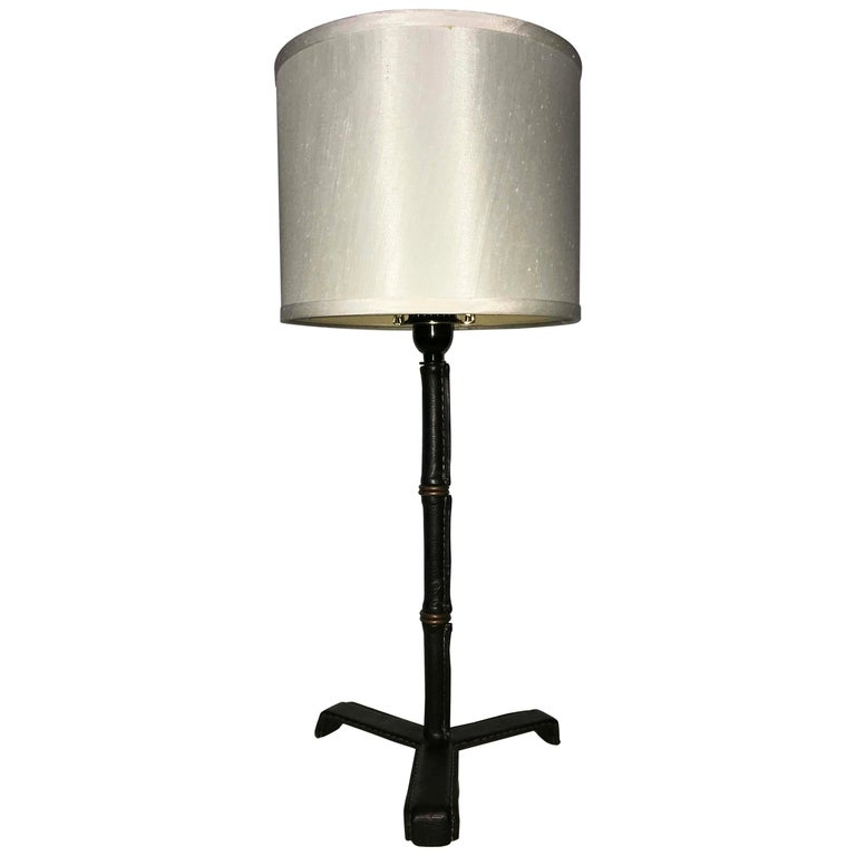 Jacques Adnet Leather Table Lamp