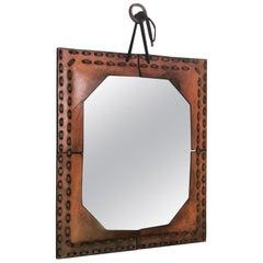 Authentic Italian Leather Mirror, 1970s