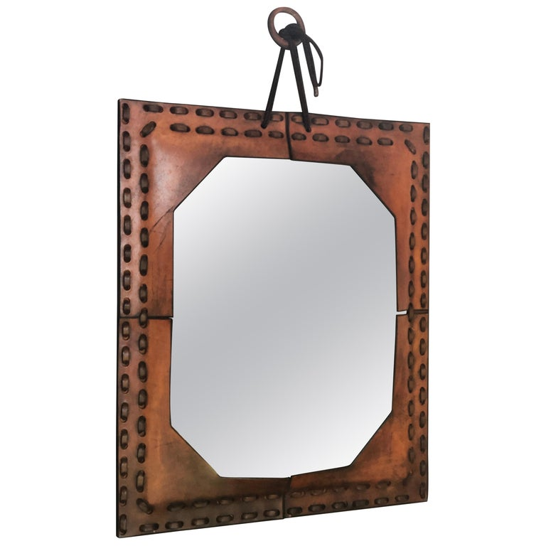 Authentic Italian Leather Mirror, 1970s For Sale