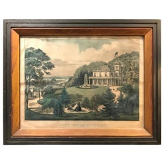 Currier and Ives Hand Colored Lithograph 'Life in the Country Evening'