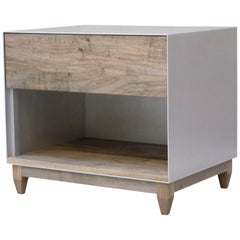 Oxide, Handmade Nightstand or Side Cabinet - Waxed Aluminum and Oxidized Maple
