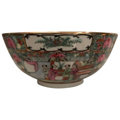 Canton Famille Rose Chinese Export Porcelain Centerpiece Bowl