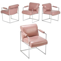 Milo Baughman for Thayer Coggins Pink Dining Armchairs, Set of Four, circa 1980