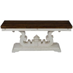 Rustic Painted Base Flip Top Sofa Kitchen Dining Table