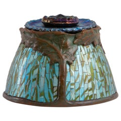 "Tiffany Studios Mosaic, Patinated Bronze and Favrile ""Poppy"" Inkwell"