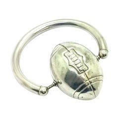 Sterling Silver Football Teething Ring Rattle