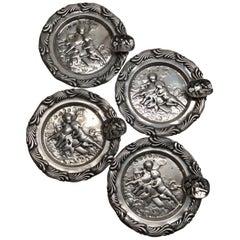 4 Antique Germany 800 Silver Cherub Putti Round Ashtrays