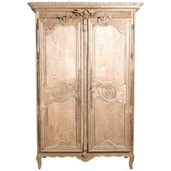 Country French Louis XV Style Washed Oak Normandy Wedding or Marriage Armoire