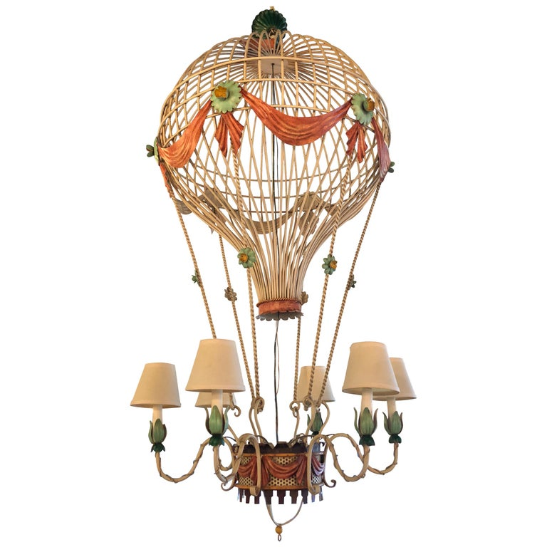 Vintage 6 Light Italian Tole Hot Air Balloon Chandelier Large For